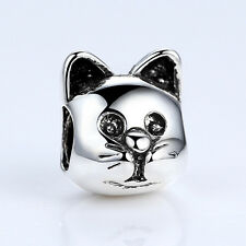 Wostu European Style Silver Plated cat Charms Pendants for Bracelets Jewelry