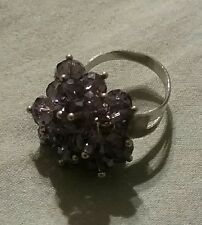 DARK  PURPLE GLASS CRYSTAL FACETED AB BEADS BLING RING NEW