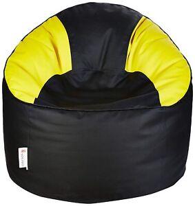 Muddha Sofa XXXL Bean Bag Cover Leatherette Without Beans (Black & Yellow)