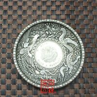 China Carved Tibetan silver  writing-brush washer ornaments plates