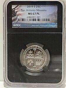 2019-S San Antonio Missions NP Quarter 25c NGC MS 67 PL