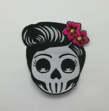 Skull Girl Rockabilly Sugar Tattoo Punk Patch Sew Iron on Embroidered Rock Band
