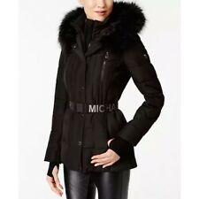 000ea721782 MICHAEL KORS Faux-Fur-Trim Hood Belted Puffer Coat ~Black ~Size S