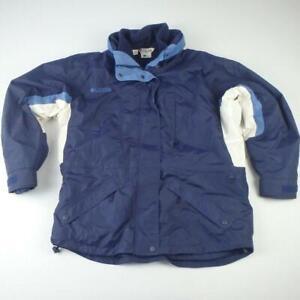 Columbia Ski Jacket Size L 16 to 18 Blue Womens Hood Waterproof Coat Fleece