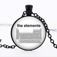 Periodic Table of The Elements Black Glass Cabochon Necklace chain Pendant