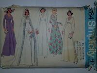 Wedding Dress Bridal Bridesmaid 18 Sewing Pattern 7284 Simplicity UC FF VTG 70s
