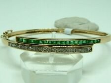 STUNNING  9CT YELLOW GOLD  BANGLE CROSSOVER EMERALDS AND DIAMONDS