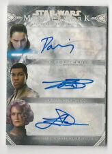 Daisy Ridley/John Boyega/Dern 2018 Star Wars Masterwork Triple Autograph Card /5