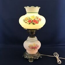 Vintage Hurricane Table Lamp 19.5 Tall Gone With The Wind Floral Electric