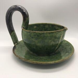 Aegitna Vallauris Pottery France Green Glaze Fixed Underplate Gravy Mid Century
