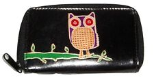 BLACK OWL THEMED LEATHER COIN PURSE 5.5 BY 3 INCHES NEW