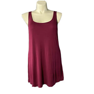 Eileen Fisher 1X Top 100% Silk Knit Tank A Line Burgundy Red Stretch Hand Wash
