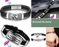Gioielli Bracciali braccialetti uomo ragazzo acciaio silicone idea regalo