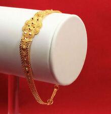 """HANDMADE  BRACELET 22K SOLID YELLOW GOLD 6.5"""" - 7.5"""" ADJUSTABLE HOOK WOMEN TEENS"""