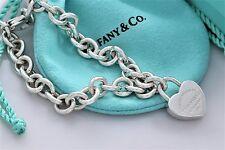 "Please Return To Tiffany & Co. Heart Padlock Charm Bracelet 7.5"" w/ Box & Pouch"