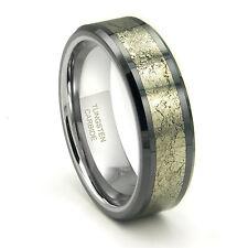 Tungsten Carbide Golden Meteorite Inlay Wedding Band Ring