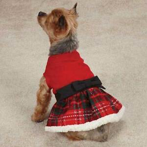 YULETIDE TARTAN Dog Pet PARTY DRESS East Side Collection XXS-M Berber Trimmed