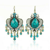 Hot Fashion Vintage Antique Style Earrings Turquoise Long Drop Dangle VE8