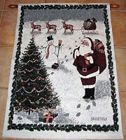 Christmas Traditions Santa Claus Snowman Reindeer Tree Tapestry Wall Hanging