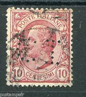 ITALIE ITALIA 1906, timbre 77, perforé, PERFIN stamp, VICTOR EMMANUEL, oblitéré