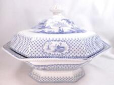 Milesian Blue Transferware Tureen Covered Vegetable Dish J Wedgwood Antique