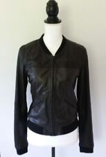 Trouve Women's Bomber Jacket Size Small Genuine Leather Black Perforated
