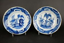 Pair Antique, 18th century Dutch Delft Blue and white Plates, 9 inch