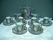 CHINESE HAND DECORATED COFFEE SET - FAMILLE ROSE - HEAVILY GILT - VINTAGE - VGC