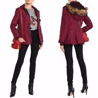 AUTH RED Valentino Faux fur-trimmed shell parka jacket Burgundy