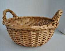 Round wicker basket with 2 handles.  Gift hamper. Storage. 26cm x 11cm.  Woven
