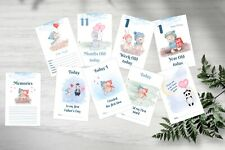 Baby Milestone Cards, Unisex, Boys, Cute Animals, Pack of 42, 300 gsm, Baby Gift