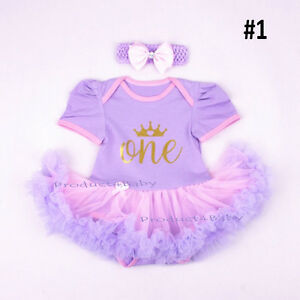 Baby Girl First 1st Birthday Party Tutu dress 2ps set Romper + Headband Outfit