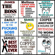 Personalised At Work or The Boss Mug - Any Name - Many Designs - Funny Gift Idea