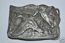 RARE 1977 Duck Hunting Bergamot Brass Works Heavy Metal Belt Buckle Waterfowl