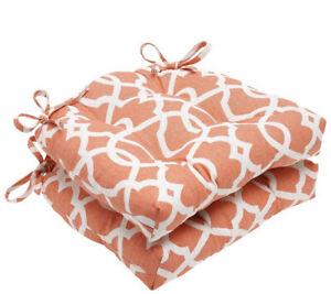 Orange Lattice Damask Reversible Chair Pad (2) (16x15.5) Pillow Perfect