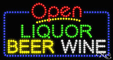 "New ""Open Liquor Beer Wine"" 32x17 Solid/Animated Led Sign W/Custom Options 25530"