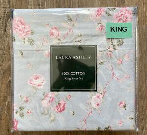 Laura Ashley Floral 4 Piece King Sheet Set 100% Cotton Vintage Pink/Blue