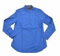 Tommy Hilfiger Women's Bright Blue Blouse   Long Sleeve   Cotton Top   Flag Logo