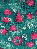 Christmas Fabric Remnant  50cm x 40cm 100% Cotton Merry Christmas