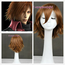 Final Fantasy VII- Genesis Rhapsodos short brown cosplay anime Wig +a wig cap