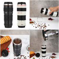400mL Camera Lens Shaped Stainless Steel Water Cup Coffee Tea Mug Cups with Lid