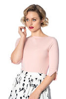 Women's Pink Vintage Retro 50s Boat neck Oonagh Basic Top Blouse Banned Apparel