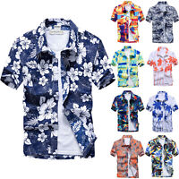 Men Floral Hawaiian Tropical Shirt Summer Beach Holiday Top Short Sleeve Blouse