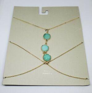 Urban Outfitters Natalia Body Chain Gold Turquoise Aqua Stone NWT
