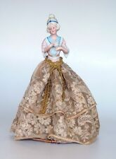 GERMAN HALF DOLL w/ CHOCOLATE CUP LAMP SHADE ORIGINAL WIRE LACE SKIRT