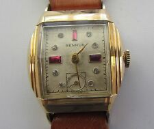 Vintage Benrus Mens Watch with Solid 10kt Gold Buckle