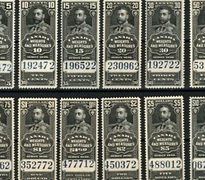 CANADA KGV REVENUES *Weights & Measures* SET 5c to $10 {12} 1930 MNH MA580