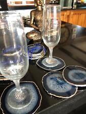Blue Agate Silver Edge, Gilded, Quartz Premium Coasters (set of 4)