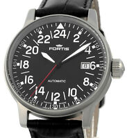 FORTIS Fleiger Cockpit Aviator Auto Date Stainless Steel Mens Wrist Watch