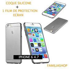 Housse étui pochette coque transparent noir gel silicone iphone 6 4.7 + 1 film
